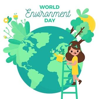 Diseño plano día mundial del medio ambiente personas