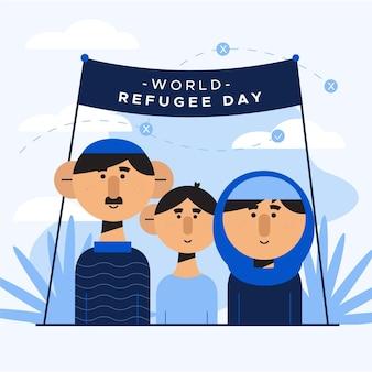 Diseño plano del día mundial de los refugiados