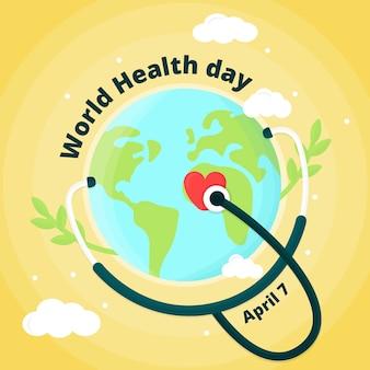 Diseño plano día mundial de la salud el 7 de abril