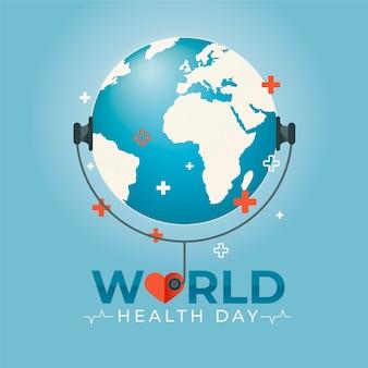 Diseño plano día mundial de la salud escuchando el estetoscopio