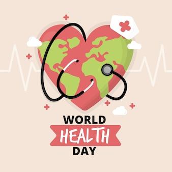Diseño plano día mundial de la salud planeta tierra enfermera