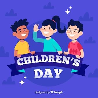 Diseño plano del día del niño con niños en la noche.