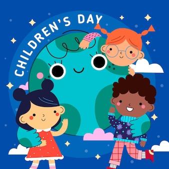 Diseño plano día del niño niños y planeta tierra.