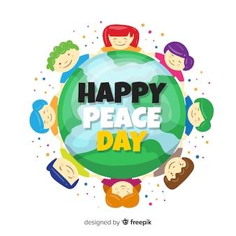 Diseño plano día de la paz con niños