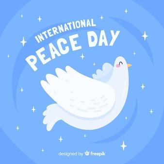 Diseño plano día de la paz con una paloma
