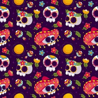 Diseño plano día de la plantilla de patrón muerto