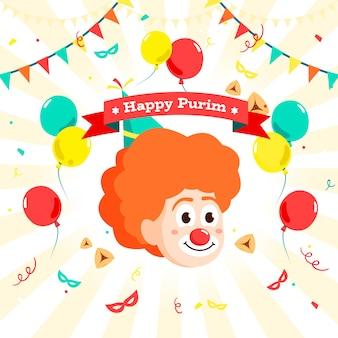 Diseño plano día purim con globos y guirnaldas