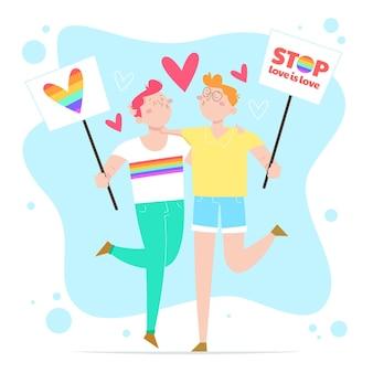Diseño plano dibujado a mano detener el concepto de homofobia
