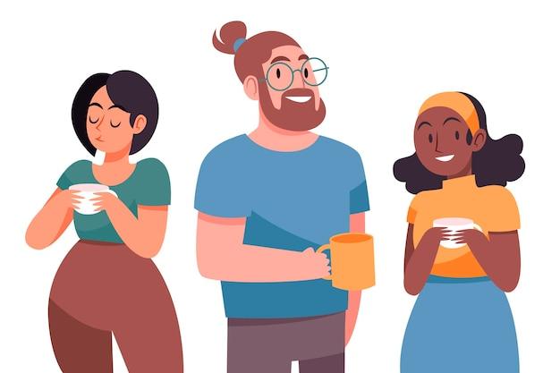 Diseño plano dibujado a mano de personas con bebidas calientes.