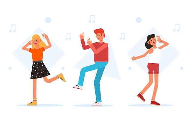 Diseño plano diferentes personas bailando.