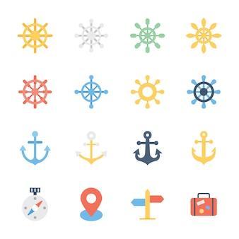 Diseño plano de dirección de barco y elementos náuticos