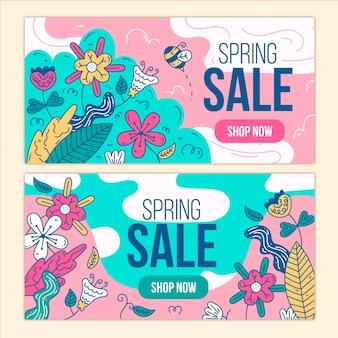 Diseño plano diseño de banners de venta de primavera