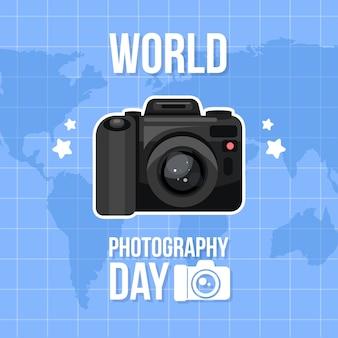 Diseño plano diseño del día mundial de la fotografía