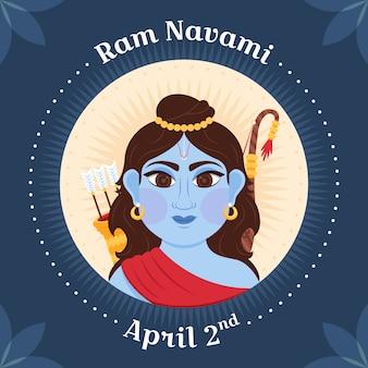 Diseño plano diseño de evento happy ram navami day