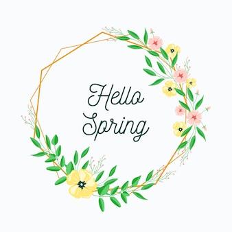 Diseño plano diseño de primavera con marco floral