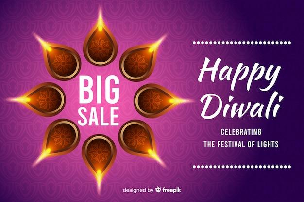 Diseño plano diwali banner de venta de vacaciones