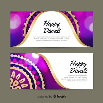 Diseño plano diwali web banners