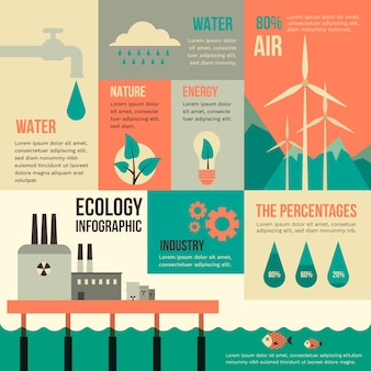 Diseño plano ecología infografía en colores retro