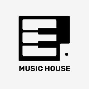 Diseño plano editable del vector del logotipo de la tecla del piano con el texto de la casa de la música en blanco y negro