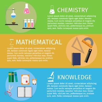 Diseño plano educación y aprendizaje banner