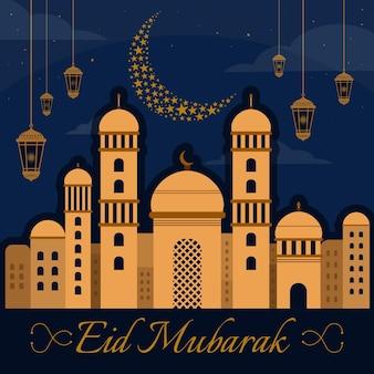 Diseño plano eid mubarak con mezquita, luna y velas.