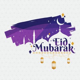Diseño plano eid mubarak violeta noche y mezquita
