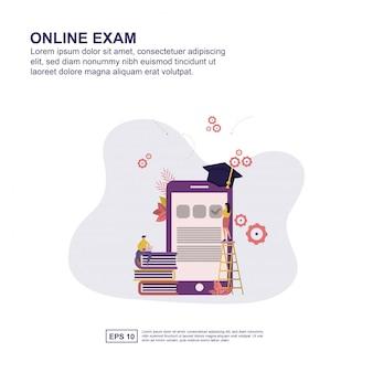 Diseño plano del ejemplo del vector del concepto en línea del examen para la presentación.