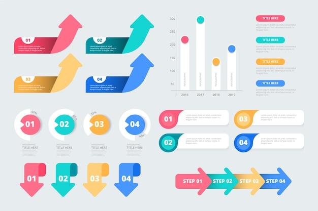 Diseño plano de elementos de infografía