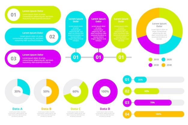 Diseño plano elementos infográficos coloridos