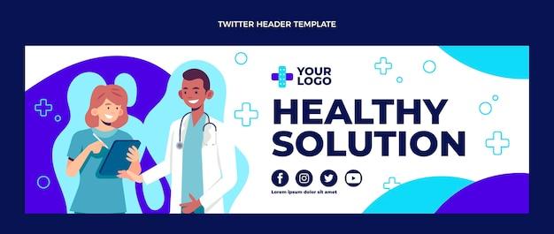 Diseño plano de encabezado de twitter médico