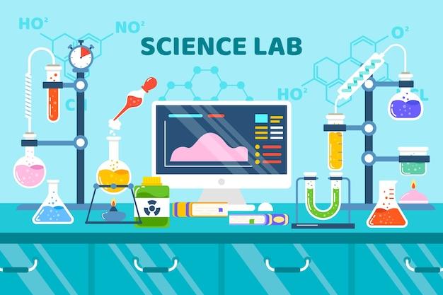 Diseño plano de equipos de ciencia y fórmulas