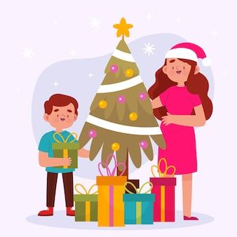 Diseño plano de escena familiar de navidad