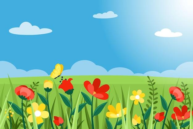 Diseño plano estilo de paisaje de primavera