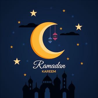 Diseño plano de estrellas y luna eid mubarak