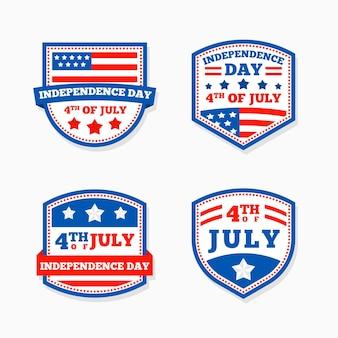 Diseño plano etiquetas 4 de julio