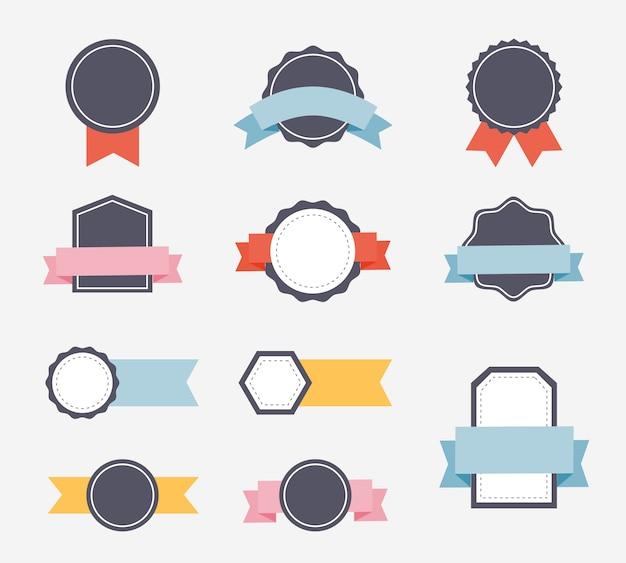 Diseño plano de etiquetas y cintas.