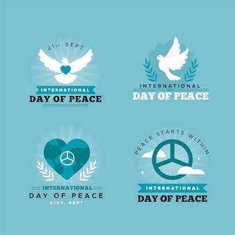 Diseño plano etiquetas del día internacional de la paz