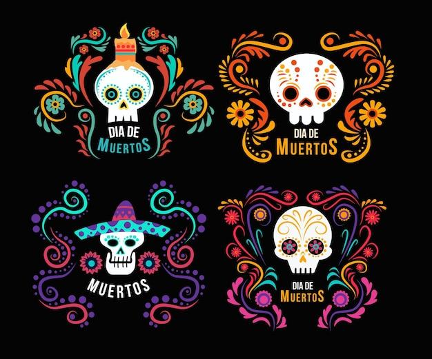 Diseño plano de etiquetas del día de los muertos.
