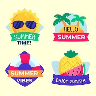 Diseño plano de etiquetas de verano