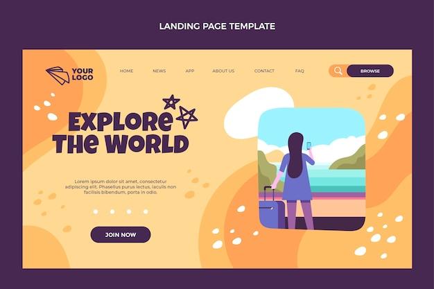 Diseño plano explora la página de destino del mundo.
