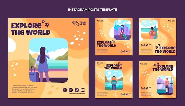 Diseño plano explorar el mundo publicaciones de instagram