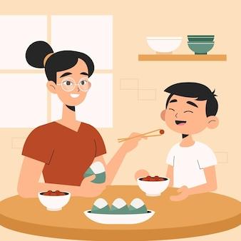 Diseño plano familia comiendo zongzi