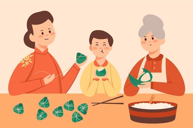 Diseño plano familia preparando zongzi