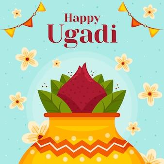 Diseño plano feliz celebración del día de ugadi