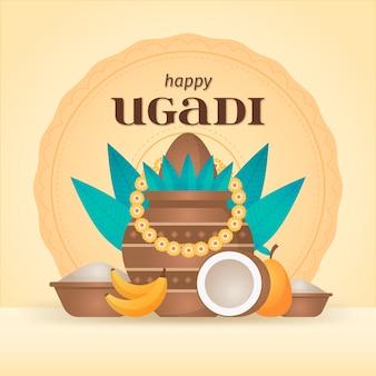 Diseño plano feliz celebración de ugadi
