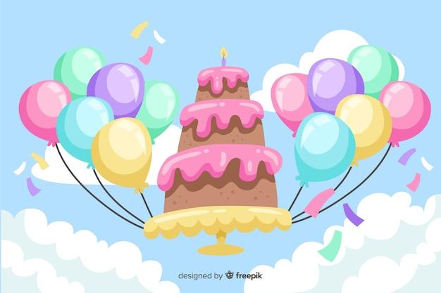 Diseño plano feliz cumpleaños fondo