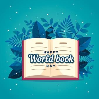 Diseño plano feliz día de los amantes del libro y hojas