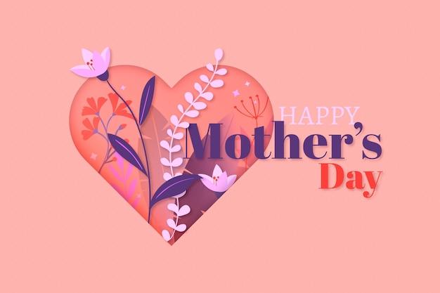 Diseño plano feliz día de la madre y corazón