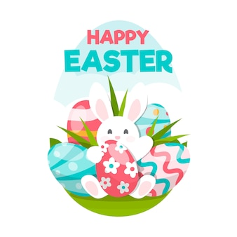 Diseño plano feliz día de pascua ilustración de conejito