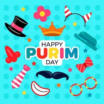 Diseño plano para feliz día de purim